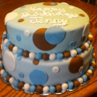 Polka Dot Birthday Cake Dark chocolate cake w/ dark chocolate mousse filling covered in blue fondant w/ colored dots.