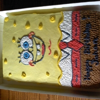 Spongebob Square Pants This is a Tres Leches cake with whipped cream frosting.