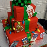 Christmas Gift Box Cake With Lights