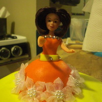 My Justine orang dress and yellow cake with orange candy dots