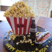 Popcorn Cake   popcorn is real, I just candied them, coke bottle is made of sugar, and hotdog is made of rice krispies, white chocolate and gumpaste