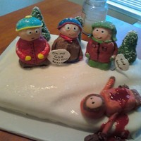 South Park Theme  Middle son LOVES South Park....I looked at a few on CC and on other sites and came up with my own version.....cake is a homemade carrot...