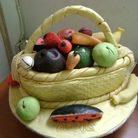Basket Of Fruits this cake is for a traditional wedding and this is my first time of making sugarfruits.