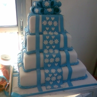 White And Royal Blue Wedding Cake