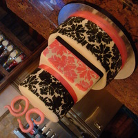 Pink & Black Birthday Cake Bottom Tier- Vanilla cake with fresh strawberries filling, middle tier - chocolate cake with ganache and top tier carrot cake with cream...