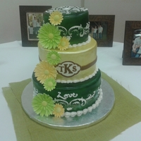 John Deer Theme Bridal Shower Key lime cake with key lime cream cheese filling covered in vanilla marshmallow fondant. The gerbera daisies are reflective of what was on...