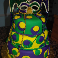 Mardi Gras Birthday Cake 3 Tier Chocolate cake, with Satin Ice Fondant