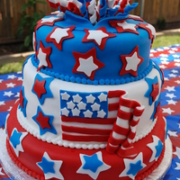4Th Of July Celebration This was my husband, Stephen's Birthday Cake, born on July 3rd. Cake was 3 tier, chocolate and vanilla, using Satin Ice Fondant. This...