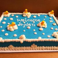 Duckie Cake baby shower cake
