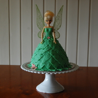 Tinkerbell   White choc mudcake covered in fondant leafs. Doll was provided by the customer :-)