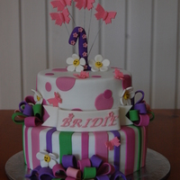 Bridie Top tier white choc mud, bottom tier choc mud. All decorations handmade & edible except wire on butterflies. :-)