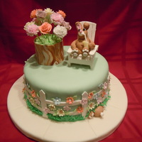 Spring Is Here WASC with Vanilla Buttercream covered with MMF. Mini Flower Barrel Cake made from WASC as well. All decorations are gum paste except the...