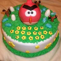 Angry Bird Cake This is a fondant covered angry bird cake.