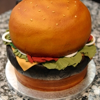 Cheeseburger Cake Groom's Cake, butter cream with fondant accents