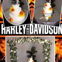 Harley Davidson Themed 3 Tiered Wedding Cake Decorated With Buttercream Icing Harley Davidson themed 3 tiered wedding cake. Decorated with buttercream icing.