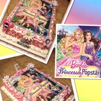 Kids Birthday Cakes. Mixed Themes. Barbie Princess Pop star sheet cake with edible image scan.