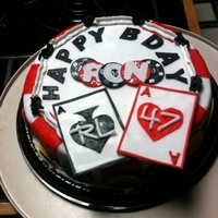 Birthday Cake For A Poker Player A friend was turning 47! He loves poker - so I made a poker chip cake.