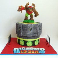 "Tree Rex Skylanders Cake 8 and 7"" tiers"
