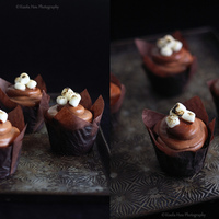 Chocolate Toasted Marshmallow Cupcakes Moist dark chocolate cupcakes with a toasted marshmallow filling and chocolate sour cream frosting (using Ateco 809 plain round tip) topped...