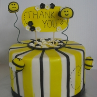 Bee Cake For Teacher A bee cake I made (with my son's help) to say thank you to his teacher for a great year! Last pic shows my son's awesome...