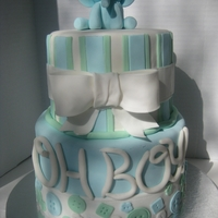 Baby Boy Shower Fondant/gumpaste elephant, all other decorations are fondant. Got much inspiration for the design from cakes on this site, as well as Pink...
