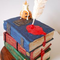 """wicked Lit"" Cake 3 book cakes I created for the opening of the play ""Wicked Lit""--3 stories turned into plays for Halloween. Gumpaste quill '..."