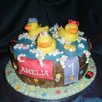 Ducks In A Tub Cake  DUCKS IN A TUB CAKE ~ A 9 INCH VANILLA CAKE FILLED WITH VANILLA BUTTERCREAM AND RASPBERRY JAM DECORATED WITH FONDANT AND FINISHED WITH...