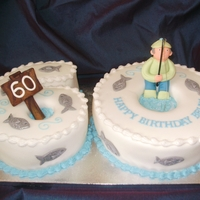 60Th Fishing Birthday Cake  60TH FISHING CAKE ~ TWO 10 INCH VANILLA CAKES CARVED BY HAND INTO NUMBERS AND FILLED WITH VANILLA BUTTERCREAM AND RASPBERRY JAM, DECORATED...