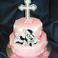 "Minnie Mouse Christening Cake MINNIE MOUSE CHRISTENING CAKE ~ A 9"" & 6"" TWO TIER VANILLA CAKES, BOTH FILLED WITH VANILLA BUTTERCREAM AND JAM, DECORATED..."