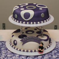 2 Tier Confirmation Cake   Made this confirmation cake for a friend of mine. The purple was air brushed to match the color scheme of the party ;)