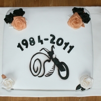 Birthday Cake For Sniglar This cake was made for the birthday of Sniglar, motorcycle club in Iceland. The snail logo and roses were air brushed.