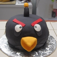 Black Angry Bird Angry Bird, made in glass bowl, covered in fondant
