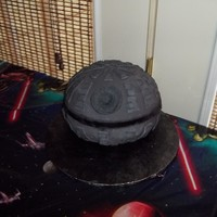 Death Star Cake Fondant covered, used soccer ball pan