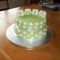 Christening Cake. A 2 tier christening cake with blocks on the top!