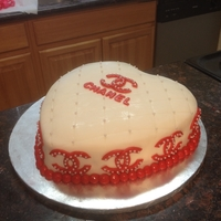 Chanel Birthday/valentine Day Cake All fondant, cake is white cake with fresh strawberries