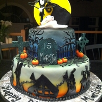 Nightmare Before Christmas Birthday Cake Made this for my daughter's sweet sixteen. She wanted Jack, the dog, the moon, the mountain and the town on the cake. A tall order,...