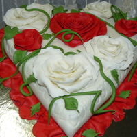 All My Love To You ! FONDANT COVERED hand made rose's and vines ,