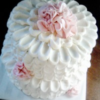 Petals And Ruffles I do a cake each month for the residents birthday party at the nursing where I work and this is thecake for September. 2 tier with...