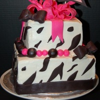 "Zebra Print With Pink Bow 6"" and 8"" amaretto cake with amaretto BC and fondant decorations. It was a late request for a friend's SIL last week, I..."