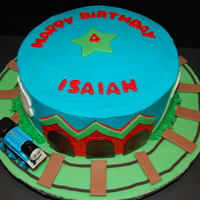 "Thomas The Tank Engine 9"" round vanilla cake with strawberry filling and vanilla BC. This was a reproduction of Eva2's cake - my friend saw it and..."