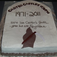 Tombstone For a 40th birthday. Cake was red velvet with vanilla BC with Lorann's cheesecake flavoring.