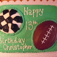Football And Soccer Sports Cake Made the football and soccer balls out of the top that was cut off of the sheet cake.