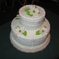 First Wedding Cake I made this cake in a class in 3 hours. Learned a lot. I am pleased with how it turned out. Can only get better from here. I maded the...