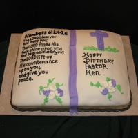 Pastor's Birthday Cake Sculpted from 11 x 15, torted with cream cheese filling. Covered with homemade fondant and chocolate fondant used for base as the cover for...