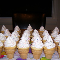 Ice Cream Cone Cupcakes Ice cream cone cupcakes with yellow cake and topped with buttercream frosting. I hadn't bought cones in years and got the Keebler...