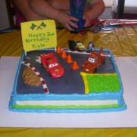 Cars Birthday Cake Cars themed birthday cake for my great nephew. Yellow cake with buttercram frosting.