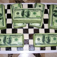 Money Cake Money cakes made for my son's birthday. Yellow cake with buttercream frosting. Edible money images.