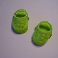 Baby Crocs Made with left over MMF. Used a template that was posted on CC by makatralsy. Thank you for the template. I think they are adorable.