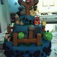 Angry Birds Cake 3 teir Angry Birds style cake. I made this for a friends daughter. This was so much fun to make!