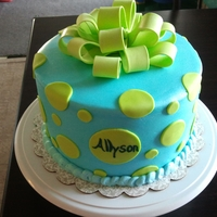 Baby Blue/lime Green Polka Dot 3 layer cake covered with baby blue buttercream decorated with lime green polka dots and bow.
